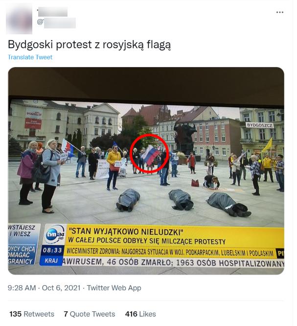 Jeden z protestujących w Bydgoszczy miał mieć rosyjską flagę