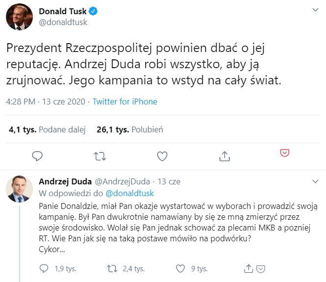 Twitterowa dyskusja pomiędzy Donaldem Tuskiem a Andrzejem Dudą
