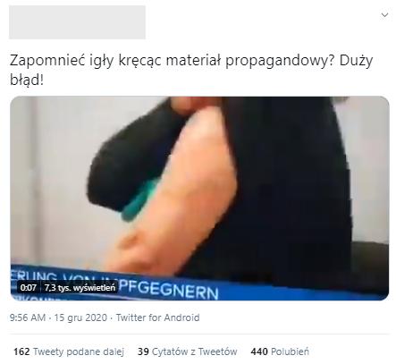 Nagranie niemieckiej telewizji trafiło też na Twittera