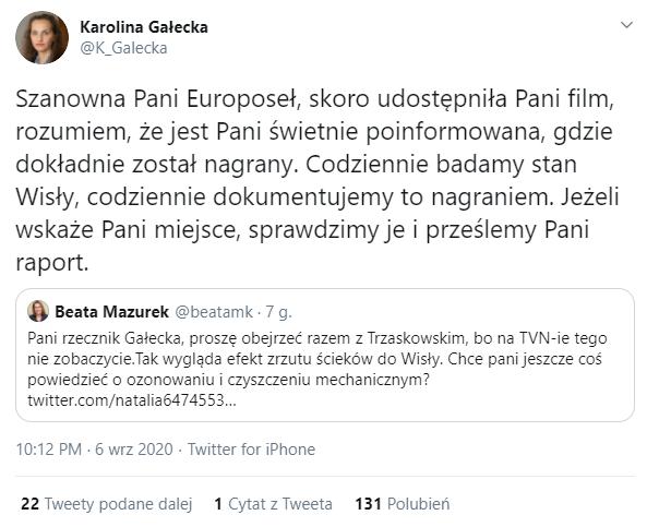 Karolina Gałecka odpowiedziała na wpis